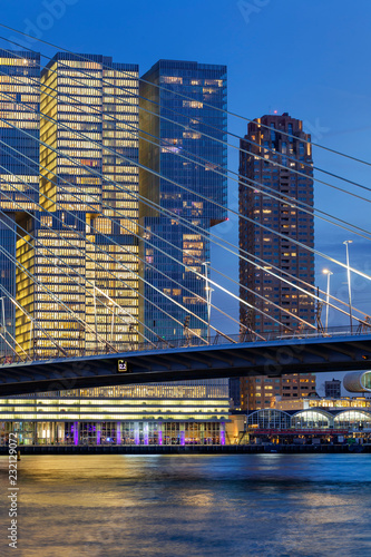 Poster Rotterdam Cityscape at twilight near the Erasmus bridge in Rotterdam