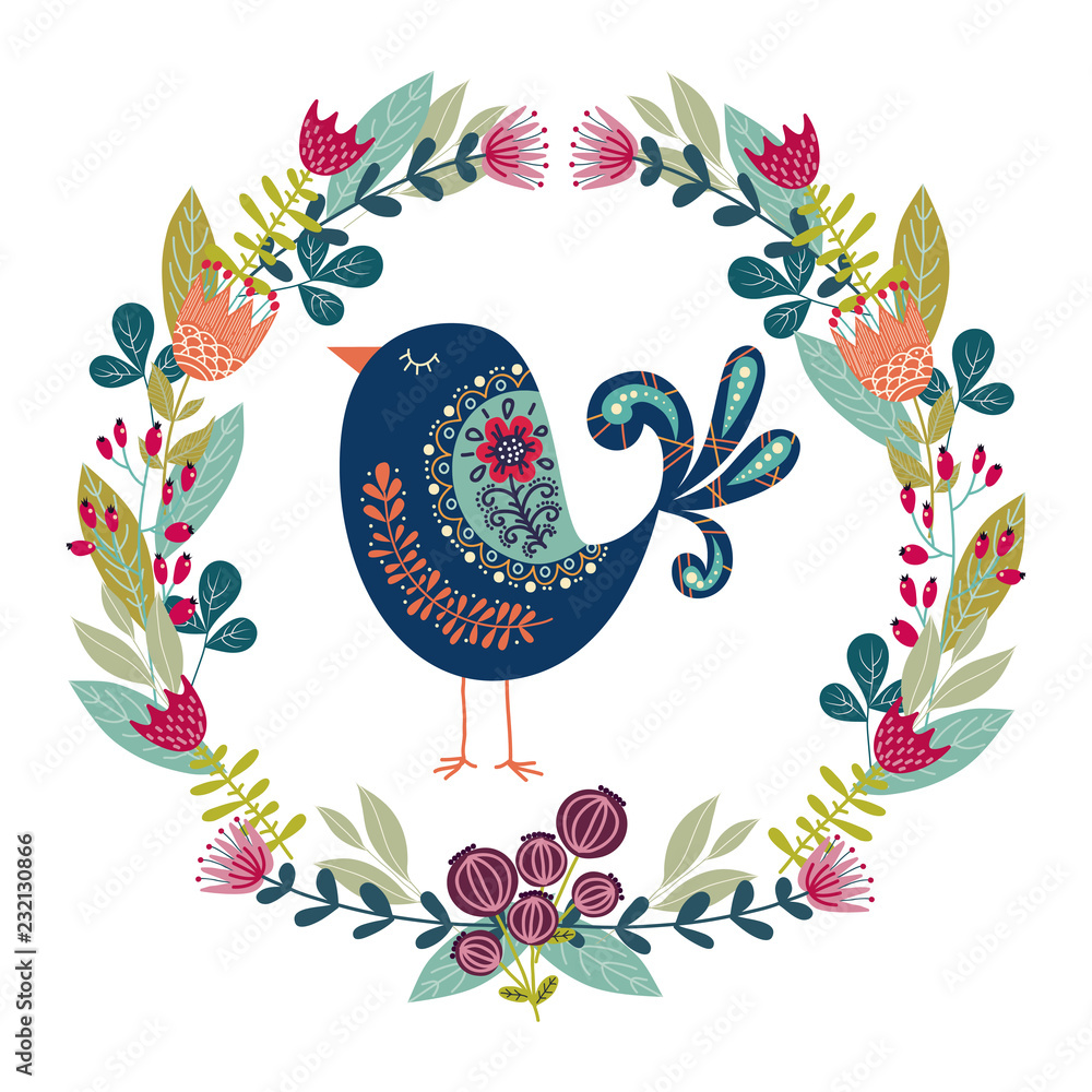 Art vector colorful illustration with beautiful abstract folk bird and floral wreath .