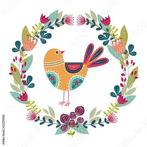Art vector colorful illustration with beautiful abstract folk bird and floral wreath Wallpaper Mural