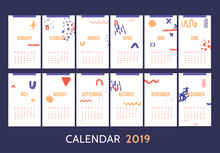 Monthly Modern Calendar Template Design With Motivational Quote Typography Design. Banner With Bold Hand Drawn Lines In Hand Drawn Style