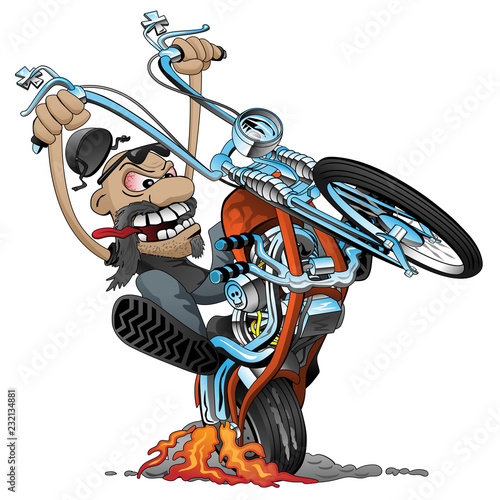 Photo Crazy biker on an old school chopper motorcycle cartoon vector illustration