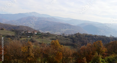 Fotobehang Wit landscape of the village in autumn