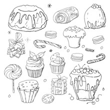Stock Black And White Set Of Different  Christmas And Winter Doodle Desserts And Sweets With Chocolate And Berries. Isolated Hand Drawn Festive Food Illustration.