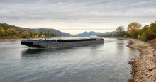 Vessel On River Rhine With Low Water Level By Unkel With A View To Siebengebirge, Germany