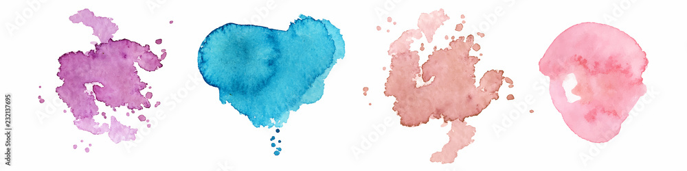 Fototapeta Abstract watercolor shapes on white background. Color splashing hand drawn vector painting