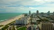 Beautiful aerial shot over South Beach, Miami with cruise leaving in background