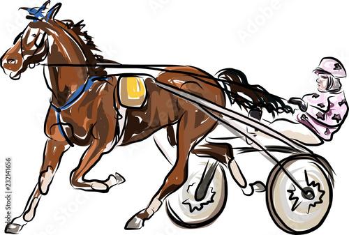 Keuken foto achterwand Art Studio horse jumping obstacles during equestrian