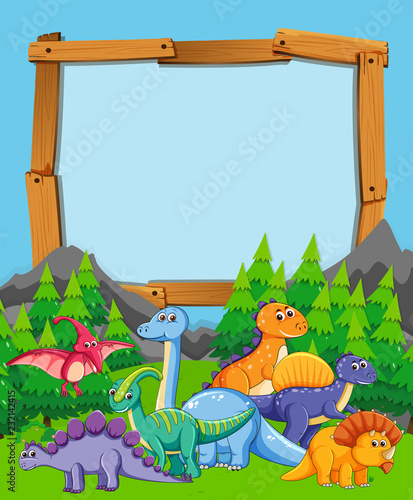 Staande foto Kids Many dinosaur on nature wooden frame