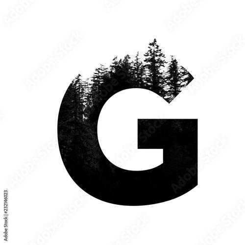 Fotografie, Tablou Letter G hipster wilderness font lettering. Outdoor adventure.