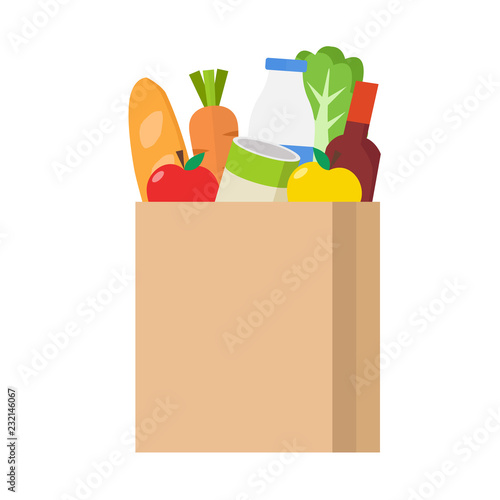 Photo Paper shopping bag full of groceries products