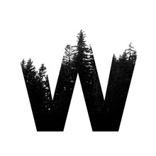 Letter W Hipster Wilderness Font Lettering. Outdoor Adventure.