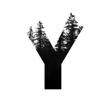 Letter Y Hipster Wilderness Font Lettering. Outdoor Adventure.