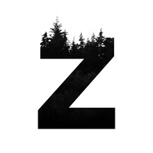 Letter Z Hipster Wilderness Font Lettering. Outdoor Adventure.