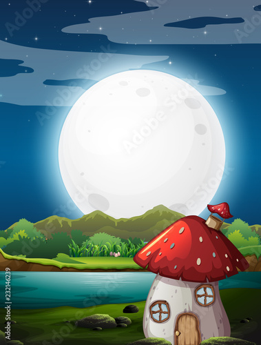 Staande foto Kids Mushroom house at night