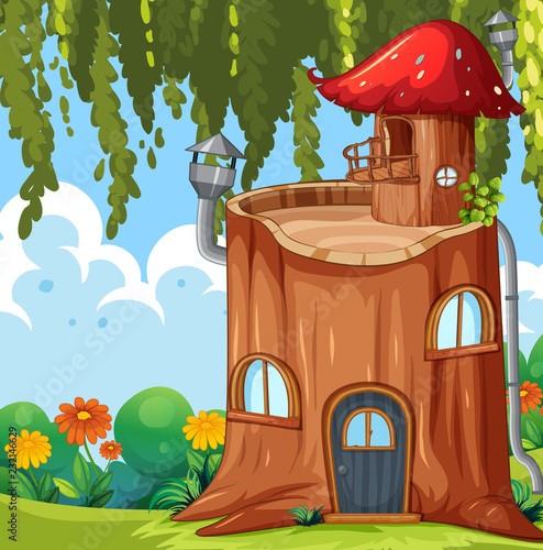 Staande foto Kids Enchanted tree trunk house