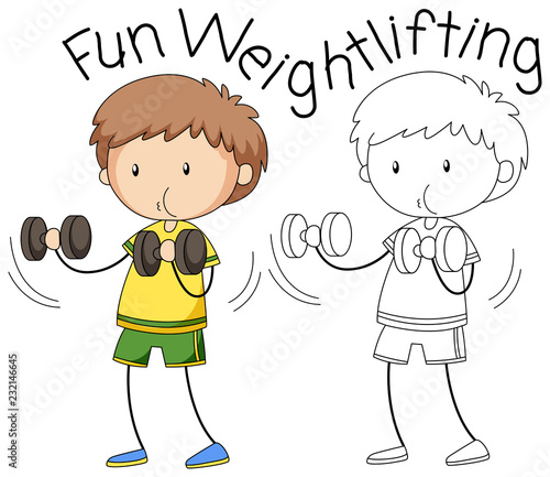 Staande foto Kids Doodle boy weightlifting character
