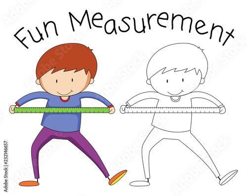Spoed Foto op Canvas Kids Doodle boy holding measurement tool