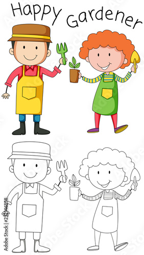 Spoed Foto op Canvas Kids Doodle gardener character on white background
