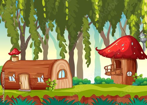 Spoed Foto op Canvas Kids Fairy tale house in nature