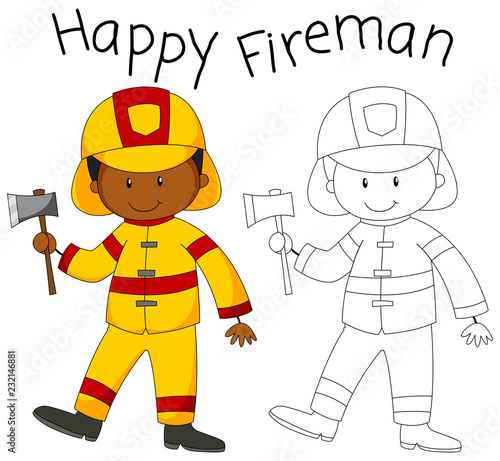 Staande foto Kids Happy fireman with an axe