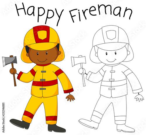 Spoed Foto op Canvas Kids Happy fireman with an axe