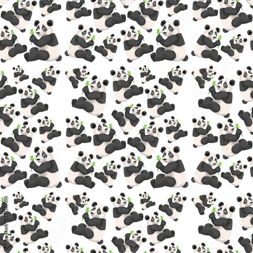 Staande foto Kids Seamless cute panda wallpaper