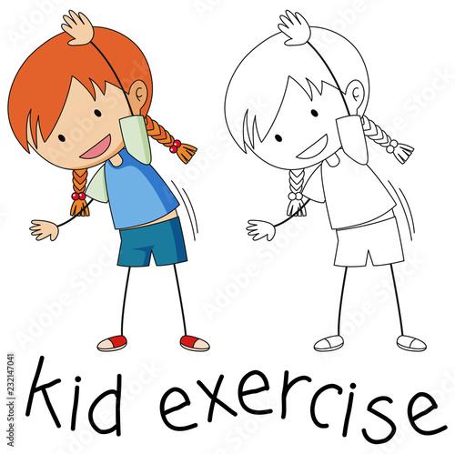 Spoed Foto op Canvas Kids Doodle girl character exercise