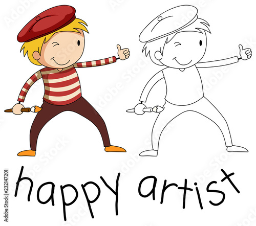 Staande foto Kids Doodle artist character on white background