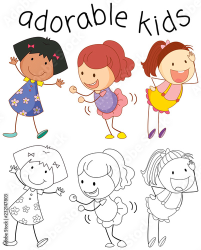 Group of doodle adorable kids