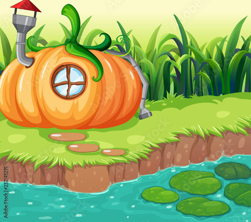 Staande foto Kids Enchanted pumpkin house in nature