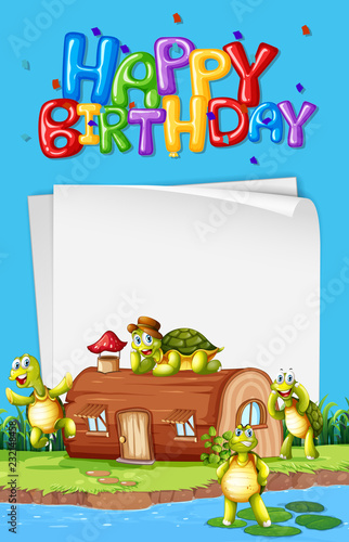Staande foto Kids Turtle next to the house birthday template