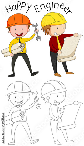 Staande foto Kids Doodle happy engineer character