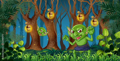 Staande foto Kids Goblin in the dark forest