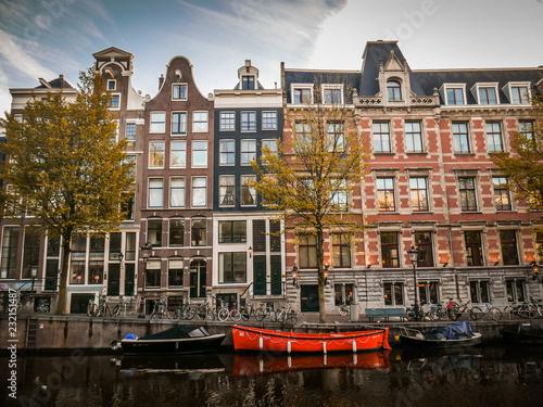 Red boat in Amsterdam