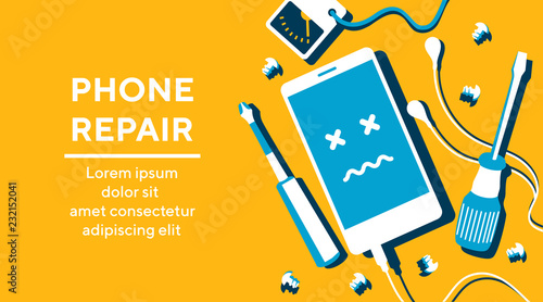 Cuadros en Lienzo  Phone repair fix poster banner flat vector illustration