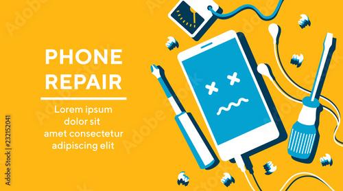 Fotografía Phone repair fix poster banner flat vector illustration