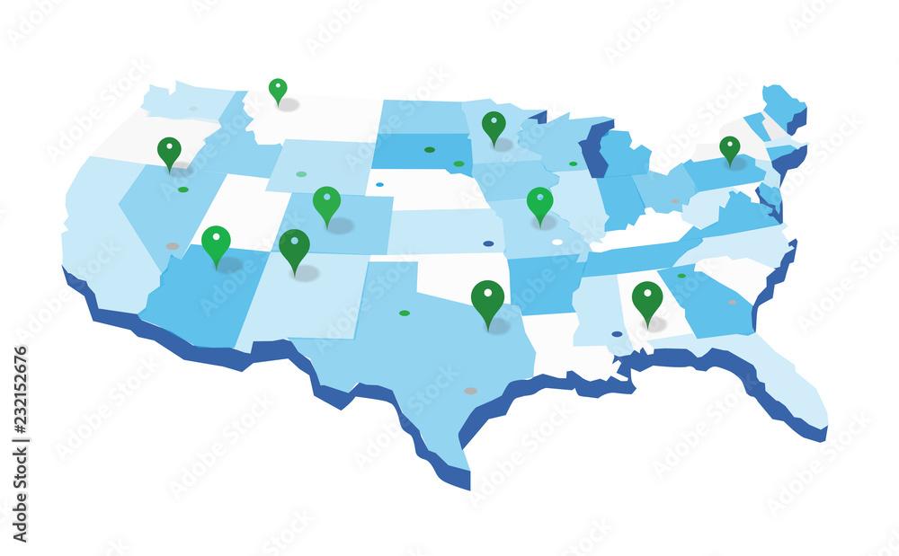 Fototapety, obrazy: United States Geo Map