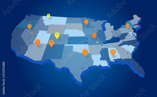 Fototapeta United States Geo Map obraz