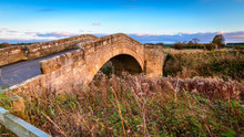 Bellasis Bridge Over River Blyth, The Humped-back Stone Bridge Is Grade 2 Listed