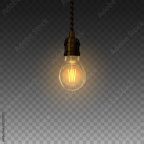 Realistic glowing lamp hanging on the wire Poster Mural XXL