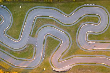 Fototapeta Aerial view of the go-kart track