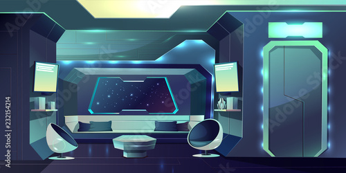 Leinwand Poster Future spaceship crew cabin futuristic interior cartoon vector illustration