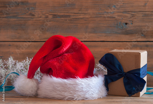 Santa hat on wooden table with copy space #232155209