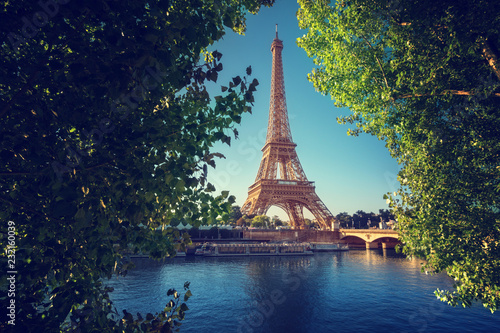 Poster Centraal Europa Seine in Paris with Eiffel tower