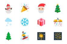 New Year Celebration Icons, Ha...