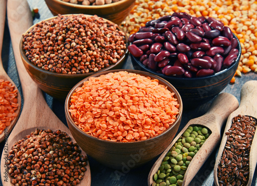 Poster Aromatische Composition with variety of vegetarian food ingredients