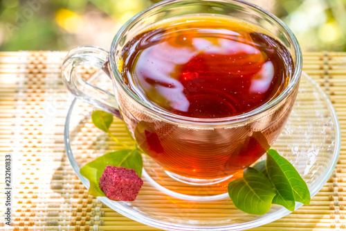 Deurstickers Thee Tea time - Relax With Hot Tea In Zen Garden