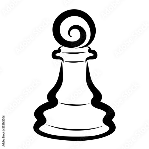 Fotografie, Obraz  Black chess piece, pawn, elegant pattern on a white background