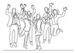 continuous line drawing of happy business team jumping joy