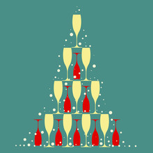 Many Yellow And Red Champagne Glasses In Form Of Christmas Tree With Snow On Blue Green Background - Flat Vector Illustration